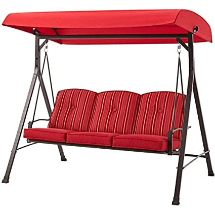 Amazon Com Mainstays Forest Hills 3 Seat Cushion Swing Red