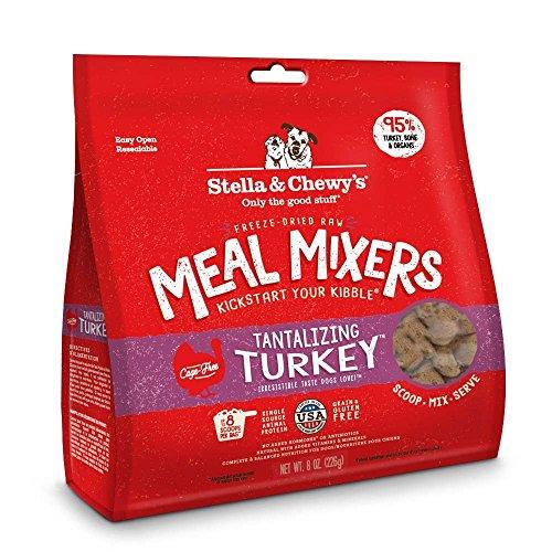 Stella & ChewyS Freeze-Dried Raw Tantalizing Turkey Meal Mixers Grain-Free Dog Food Topper, 8 Oz Bag