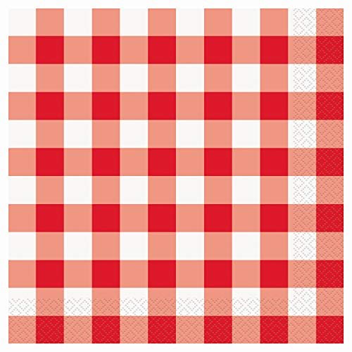 Disposable Red and White Gingham Paper Party Paper Napkin- 2 Ply (Pack of 36) Luncheon Napkins (Walmart Paper Napkins)