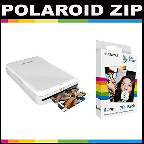 Polaroid ZIP Mobile Printer ZINK Zero Ink Printing Technology - With Polaroid 2x3 inch Premium ZINK Photo Paper (70 Sheets)- White