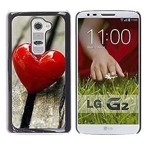 LECELL -- Funda protectora / Cubierta / Piel For LG G2 D800 D802 D802TA D803 VS980 LS980 -- Love Heart & Wood --