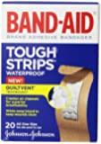 Band-Aid Brand Adhesive Bandages, Tough-Strips, Waterproof, 20 Count (Pack of 2)