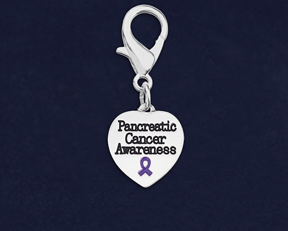 Fundraising For A Cause 25 Pancreatic Cancer Awareness Heart Hanging Charms in Bags Wholesale Pack - 25 Charms