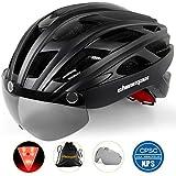 Shinmax Casco Bicicleta con luz, Certificación CE,con Visera Magnética Seguridad Ajustable Desmontable Deporte Gafas de Protección Ligera para Montar Ski & Snowboard Unisex Cascos Bici Adultos NR-096