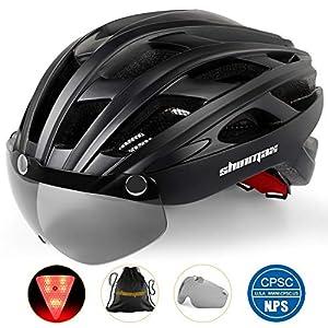 51EYA0IHthL. SS300 Shinmax Casco Bici con Luce di LED,Certificato CE, Casco con Visiera Magnetica Staccabile Shield Casco da Bici Leggero…