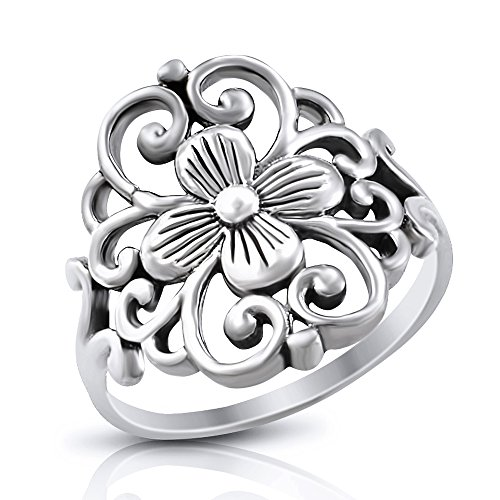 Sterling Silver Flower Filigree Scroll Ring - Size 9