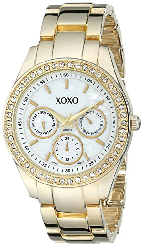 XOXO Womens XO5302A Rhinestone-Accented Gold-Tone Bracelet Watch