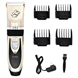 Hercules Professional Pet Animal Low Noise Trimmer Shaver Clippers Rechargeable Cordless Dogs Cats Quiet Electrical Grooming Tool Hair Trimming Haircut Kits Four (3-6-9-12mm) Combs (Black & Gold)