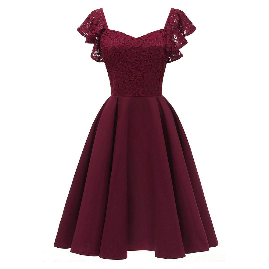 Vibola Dresses for Women, Vintage Ruffles Sleeve Lace Cocktail Aline Swing Dress 24522