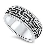 Greek Key Spinner Wedding Ring New %2E92