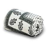 Little India Handblock Grey Print Cotton Double Bed Comforter 613