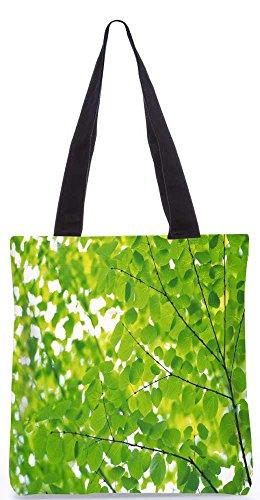 """Snoogg Grüne Blätter Tragetasche 13,5 X 15 In """"Einkaufstasche Dienstprogramm Trage Aus Polyester Leinwand"""