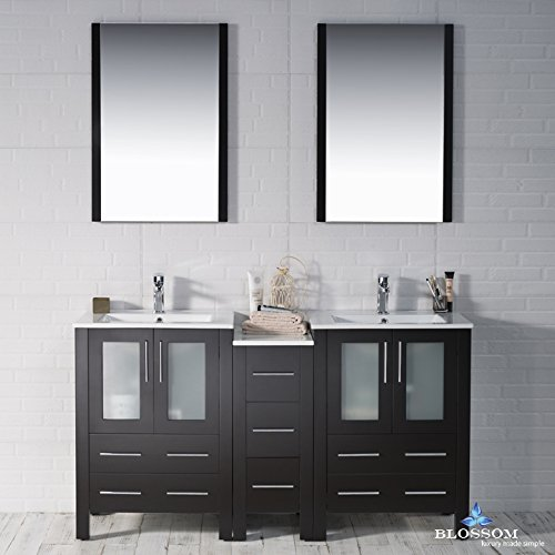 BLOSSOM 001-60-02-D Sydney 60'' Double Vanity Set with Mirrors Espresso by Blossom