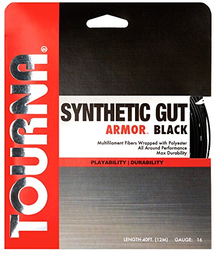 Tourna Synthetic Gut Armor Black Tennis String - 16g (Best Synthetic Gut String For Hybrid)