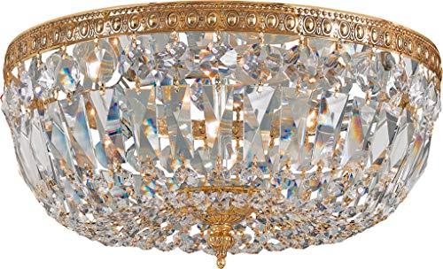 Crystorama 712-OB-CL-I 3 Light Clear Italian Crystal Brass Flush Mount, Olde Brass from Crystorama