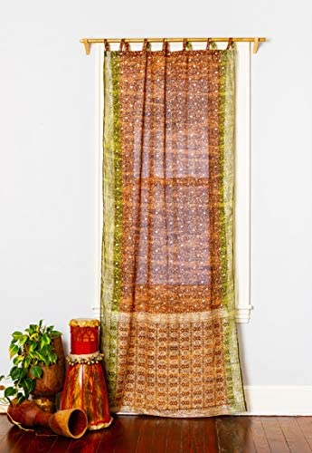 Colorful Window Treatment Draperies Indian Sari Panel 108 96 84 inch Curtains