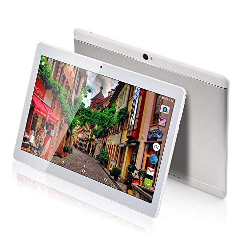 10 Inch 3G Phablet Android 7.0 Octa Core 64GB ROM 4GB RAM Call Phone Tablet PC, Unlocked Dual Sim Card Slots, Bluetooth, GPS, WiFi, Netflix YouTube Resolution 1920X1080 Display (Silver)