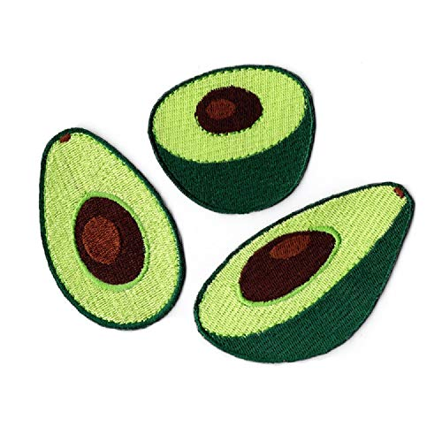 YOUOR 3pcs Avocado Embroidered Patch Fruit Iron On Sew On Applique Patches
