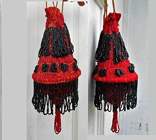 1 Antique Beaded Red & Black Flapper Purse, Hoop Purse, 1000s of Beads, Tassels A-Flapping, A-Swinging, Bold Color, Nearly 100 Years Old. by EMENOW