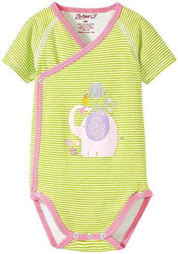 (Zutano Baby Girls' Hello Screen S/s Wrap Body, Lime, 3 Months)