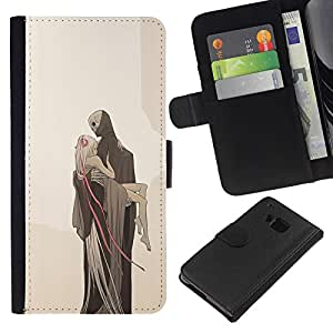 Planetar® Modelo colorido cuero carpeta tirón caso cubierta piel Holster Funda protección Para HTC One M9 ( Love Death Monster Blonde Beige )