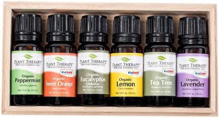 Plant Therapy Top 6 USDA Certified Organic Essential Oils Set. Includes: Eucalyptus, Lavender, Orange, Peppermint, Lemon and Tea Tree. 10mL (1/3 Ounce) each.