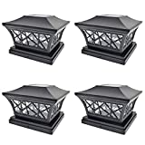 iGlow 4 Pack Black 6 x 6 Solar Post Light SMD LED Deck Cap Square Fence Outdoor Garden Landscape PVC Vinyl Wood