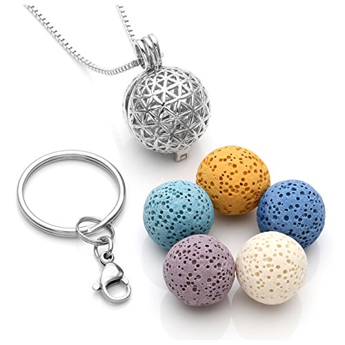 JOVIVI Flower of Life Locket Essential Oil Diffuser Necklace + 5 Lava Rock Stone Beads + Stainless Steel Key Ring Keychain Anxiety Stress Gifts (16mm 5 Beads)