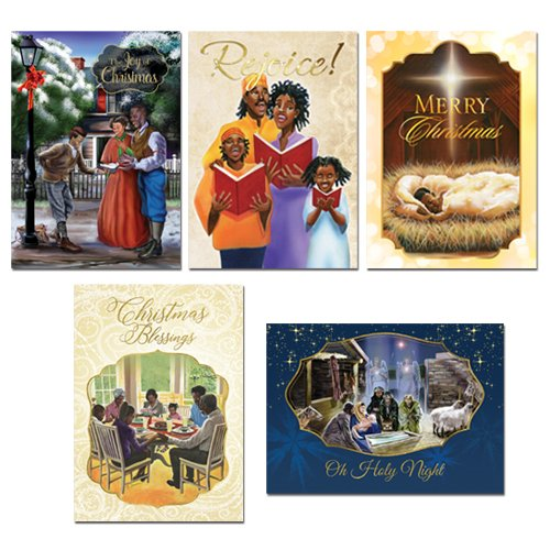 """Health & Personal Care : African American Expressions - Assorted Boxed Christmas Cards (15 cards, 5"""" x 7"""") A-202 (Includes: C-898, C-905, C-937, C-940, C-942)"""