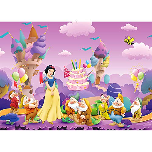 7x5ft Ice Cream Backdrops for Photography Snow White Princess and The Seven Dwarfs Photo Background for Girl Birthday Party Customized Name