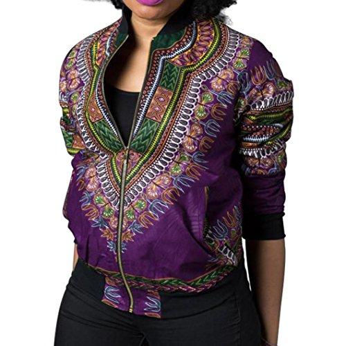 Price comparison product image AMA(TM)® Women'S Casual African Print Zipper Dashiki Short Bomber Jacket Coat Windbreaker with Pockets (Purple,  XL)