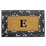 Nedia Home Wrought Iron Rubber Coir Mat, 30 by 48'', Monogrammed E, Olive Border