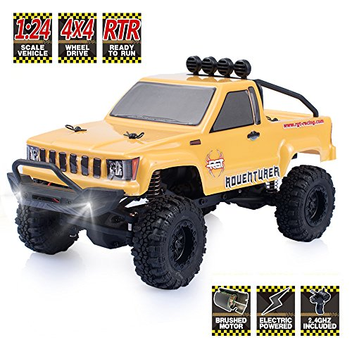 RGT RC Crawlers RTR 1/24 Scale 4wd Off Road Monster Truck Rock Crawler 4x4 Mini RC Car with Lights (Yellow)