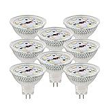 Nada, MR16, LED Light Bulbs, DC 12V, 40W Equivalent Halogen Replacement, 3W, Spotlight 330 Lumen, 8 Pack (Cool White 6000K)