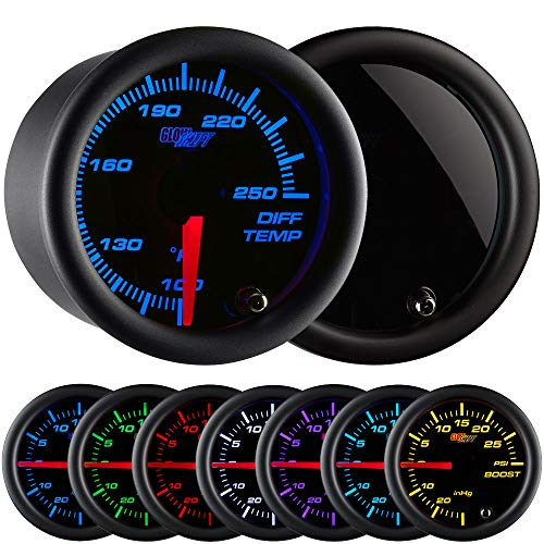 GlowShift Tinted 7 Color 250 F Rear Differential Temperature Gauge Kit - Includes Electronic Sensor - Black Dial - Smoked Lens - for Car & Truck - 2-1/16