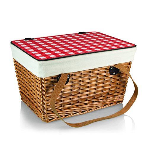 Picnic Time Canasta Basket with Red Check Lid, Grande