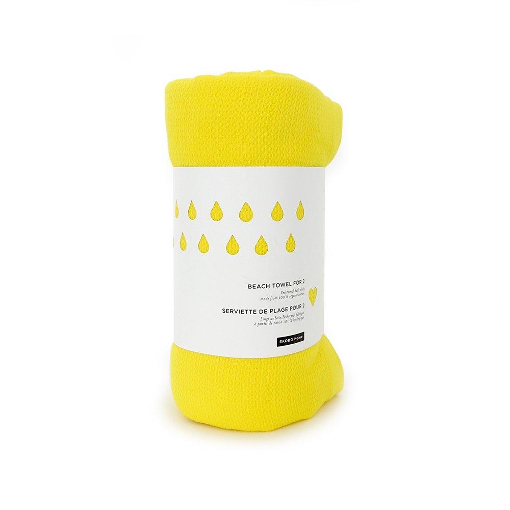 Ekobo 69439 Home Strandtuch, 200 x 200 cm, lemon