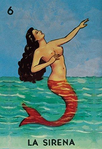 Loteria La Sirena Mexican Retro Illustration Art Print Vintage Giclee on Paper (Mexican Folk Art)