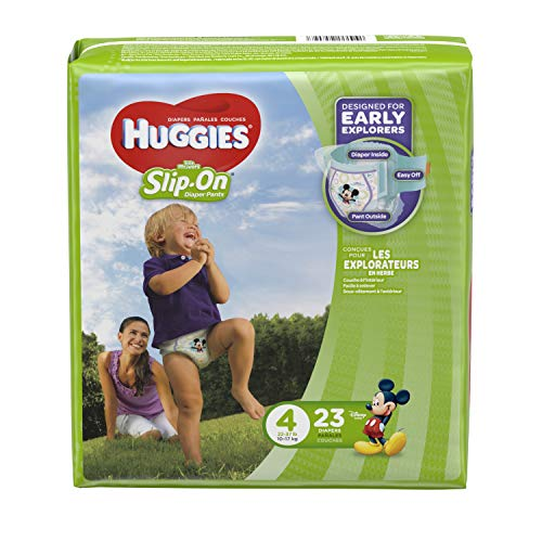 Huggies Little Movers Slip-On Diapers, Size 4, 23 Count (Huggies Little Movers Diaper Pants Size 4)