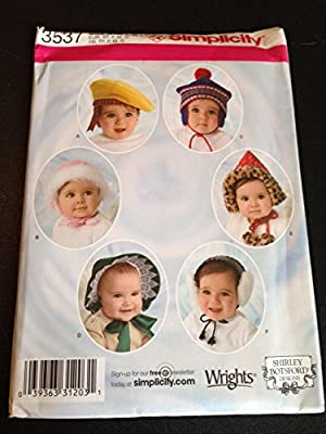 4752a011d60 Amazon.com  Simplicity Pattern 3537 Babies and Toddlers Hats (Xs-lg ...