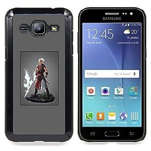 GIFT CHOICE / Teléfono Estuche protector Duro Cáscara Funda Cubierta Caso / Hard Case for Samsung Galaxy J2 / J200 // Hero Man Super Power Fire Sword Blonde //