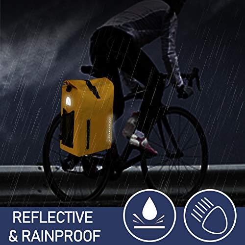 LOVEVOOK Fahrrad Tasche für Gepäckträger, 100% Wasserdicht 20L Reflektierend Fahrradrucksack Gepäckträgertasche, Umhängetasche Rucksack Fahrrad mit Abnehmbare Laptoptasche, für Herren Damen Gelb