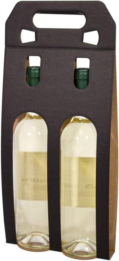 Kartox | Bolsa Estuche Expositor De Cartón | Estuche para 2 Botellas De Vino | Color Negro | 10 Unidades: Amazon.es: Oficina y papelería