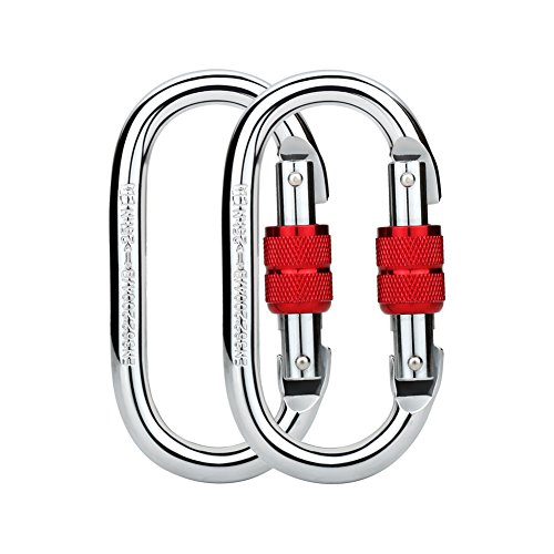 Paliston 25kN O Shape Steel Climbing Carabiner Oval Locking Carabiner for Rock Climbing Hammock Aerial Dance and Swing Set Red (Pack of 2)