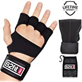 B2FIT PRO Workout Gloves with Wrist Support - Ventilated Weight Lifting Gloves with Genuine Leather Palm for Better Grip - Gym Glove for Men and Women - Training Fitness Crossfit Gloves (Black, L)