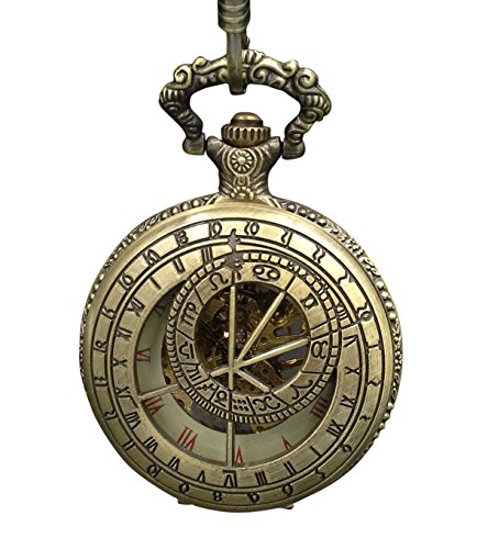 (ShoppeWatch Pocket Watch with Chain Skeleton Mechanical Wind Up Gold Tone Bronze Steampunk Cosplay PW-180 )