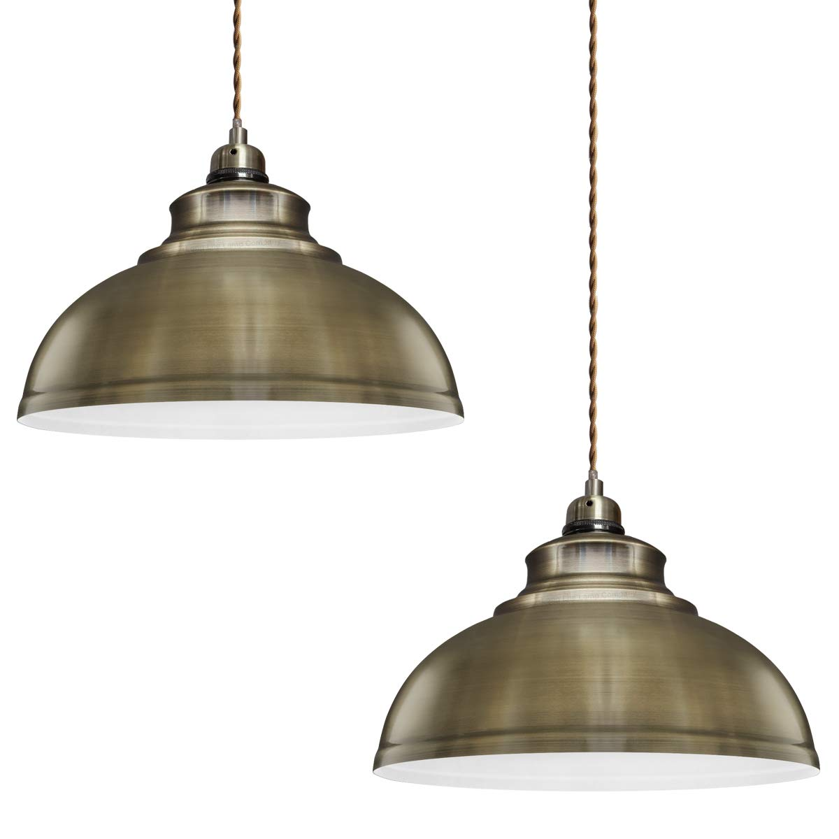 2 x Modern Vintage Antique Brass Pendant Light Shade Industrial Hanging Ceiling Light Ideal For Dining Room Bar Clubs & Restaurants Energy Light Bulbs VINBR2P