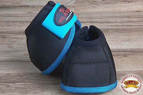HILASON SML HORSE BALLISTIC OVERREACH NO TURN BELL BOOTS PAIR BLACK TURQUOISE by HILASON (Image #3)