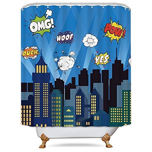 Cdcurtain Superhero Shower Curtain Panel Buildings Cityscape City Cartoon Skyline Decor Fabric Set Polyester Waterproof 72x72 Inch Free 12-Pack Plastic -