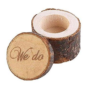 Amazon.com: Caja de anillos de madera para boda, anillo de ...